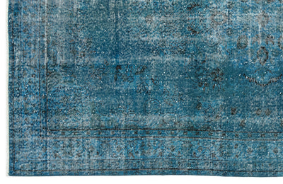 Turquoise  Over Dyed Vintage Rug 5'4'' x 8'10'' ft 163 x 268 cm
