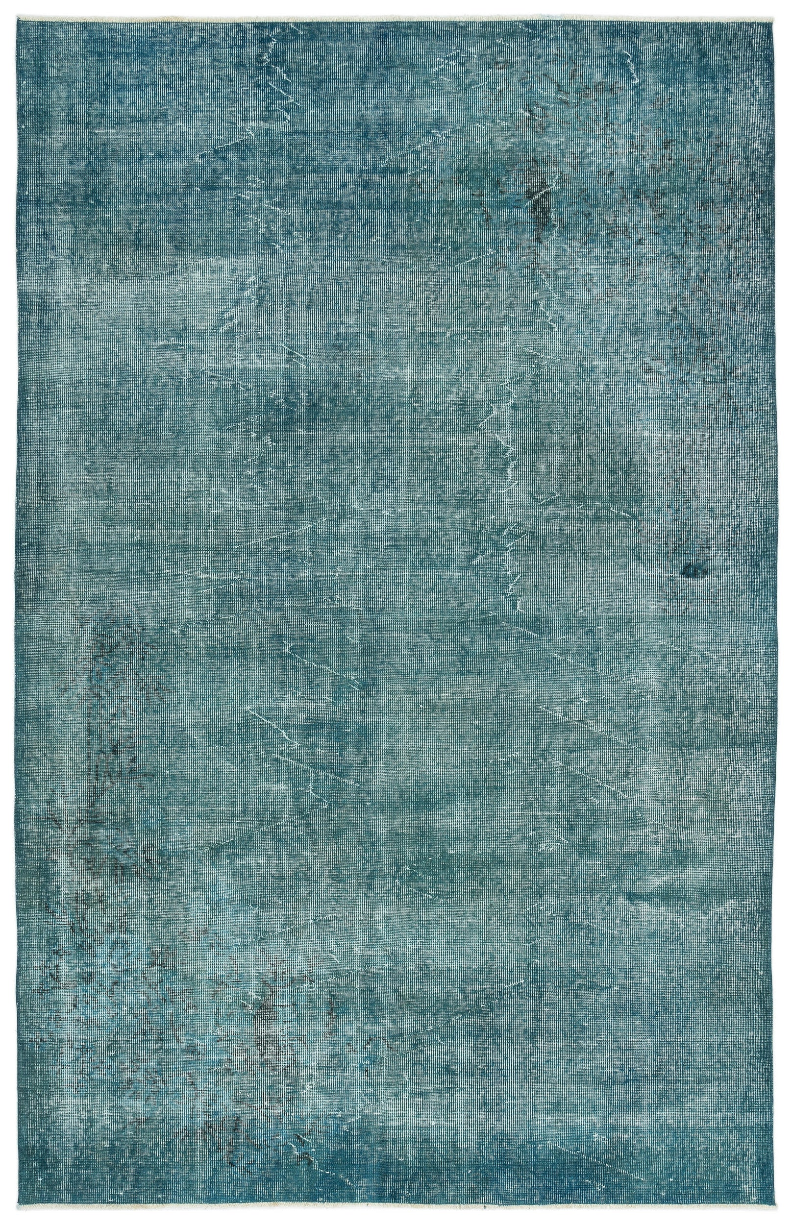 Turquoise  Over Dyed Vintage Rug 5'10'' x 9'1'' ft 179 x 278 cm