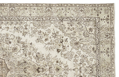 Beige Over Dyed Vintage Rug 5'6'' x 10'1'' ft 168 x 308 cm