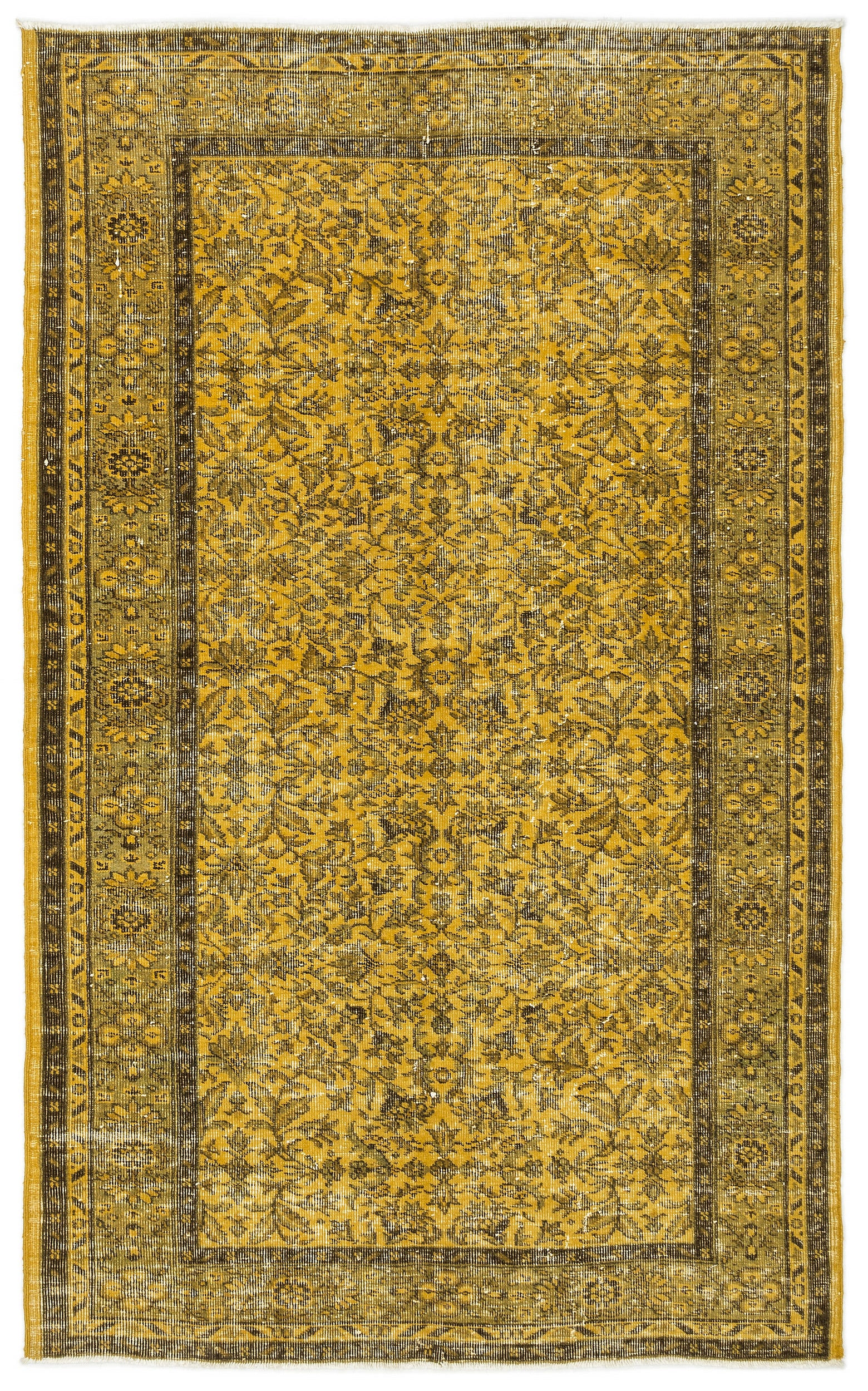 Yellow Over Dyed Vintage Rug 4'8'' x 7'7'' ft 141 x 232 cm