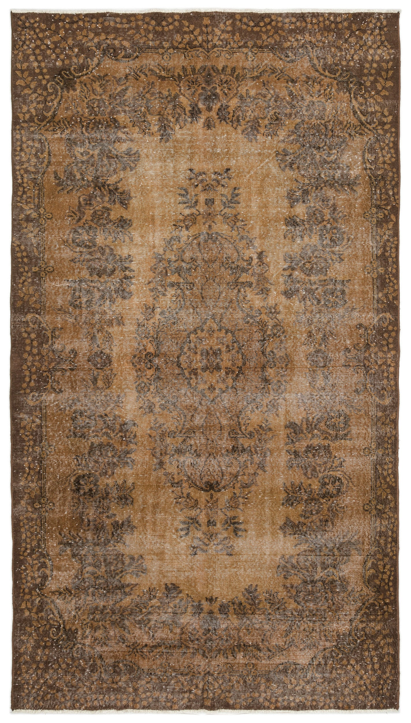 Brown Over Dyed Vintage Rug 5'7'' x 10'0'' ft 170 x 305 cm