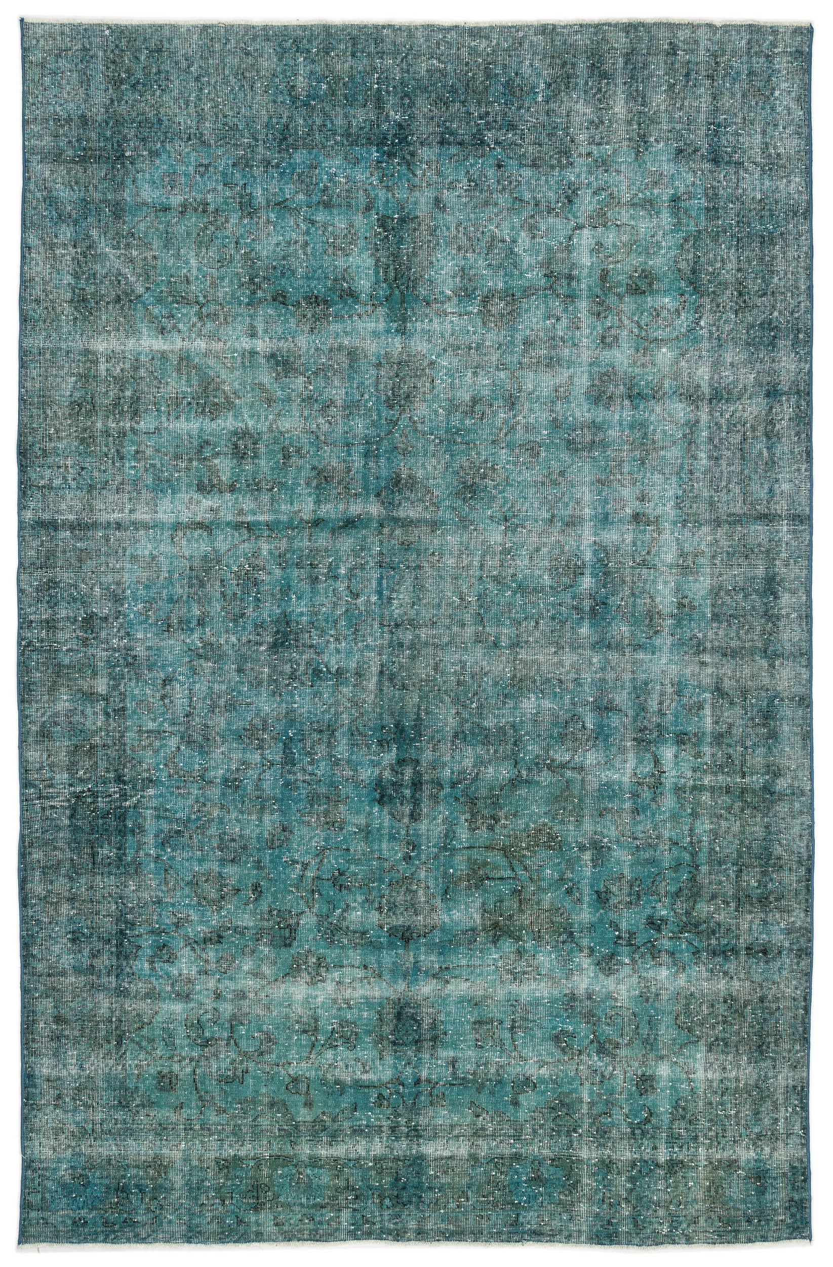 Turquoise  Over Dyed Vintage Rug 6'4'' x 9'9'' ft 192 x 297 cm