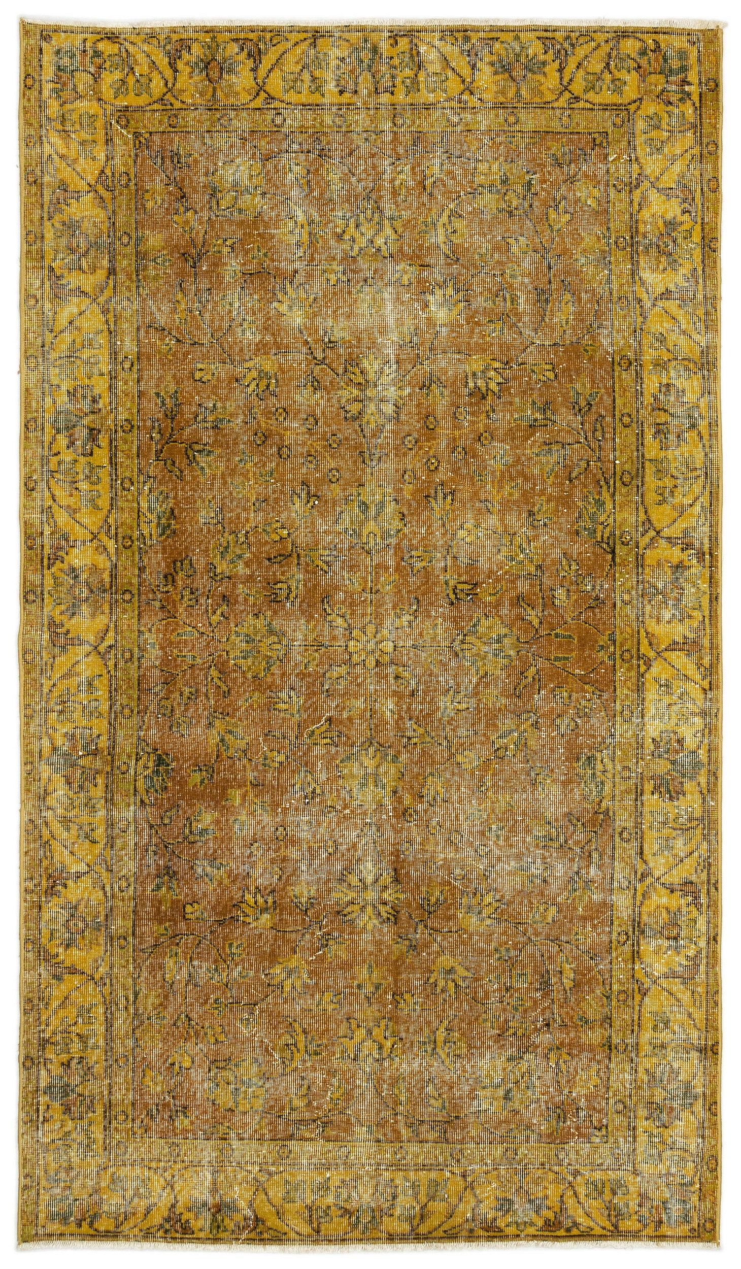 Yellow Over Dyed Vintage Rug 4'9'' x 8'4'' ft 146 x 255 cm