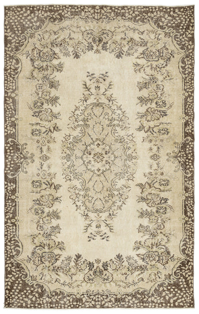 Beige Over Dyed Vintage Rug 5'10'' x 9'4'' ft 179 x 285 cm