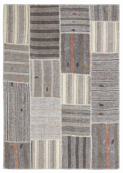 Striped Over Dyed Kilim Patchwork Unique Rug 5'3'' x 7'7'' ft 160 x 230 cm