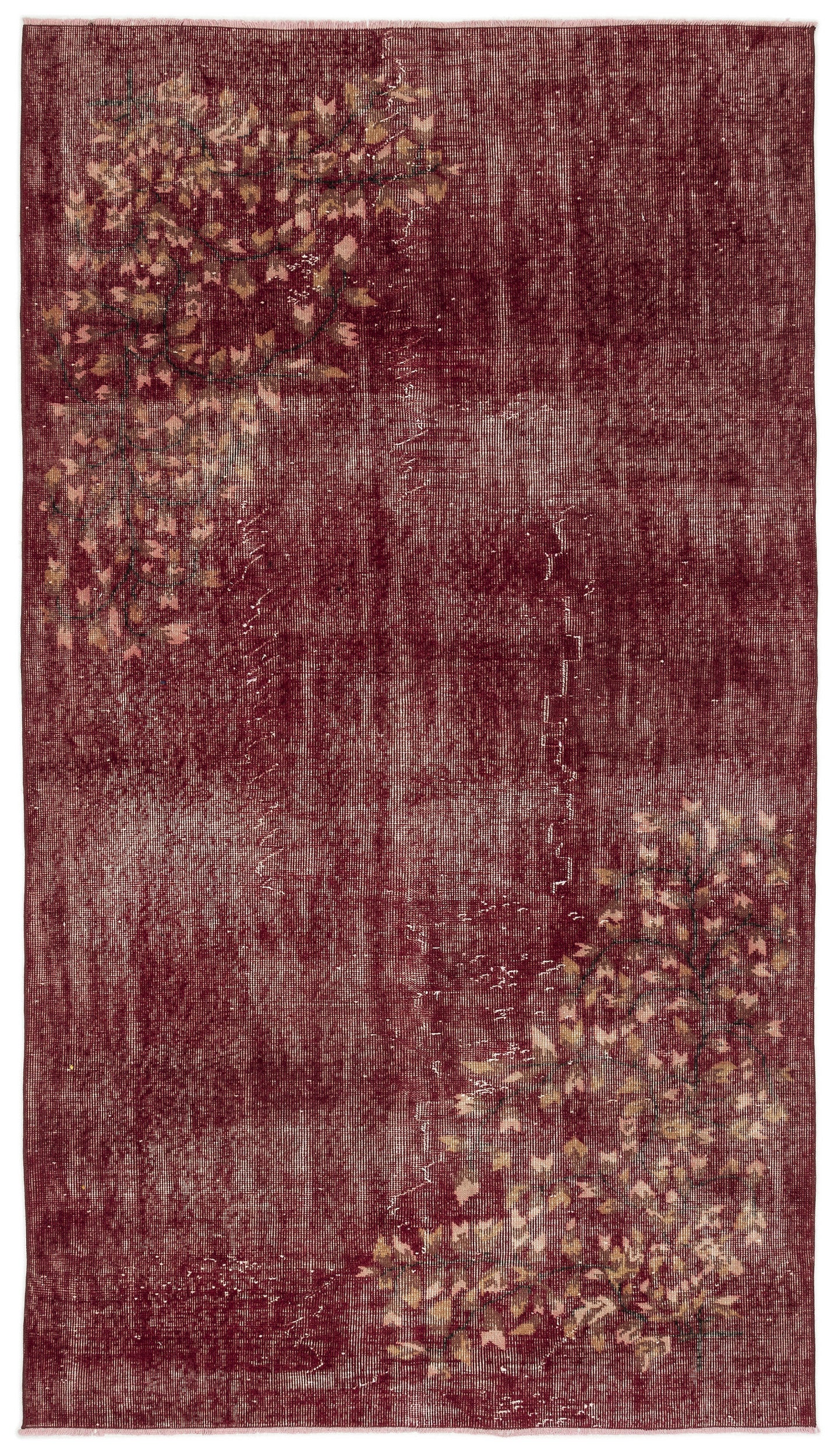 Red Over Dyed Vintage Rug 4'10'' x 8'7'' ft 148 x 261 cm