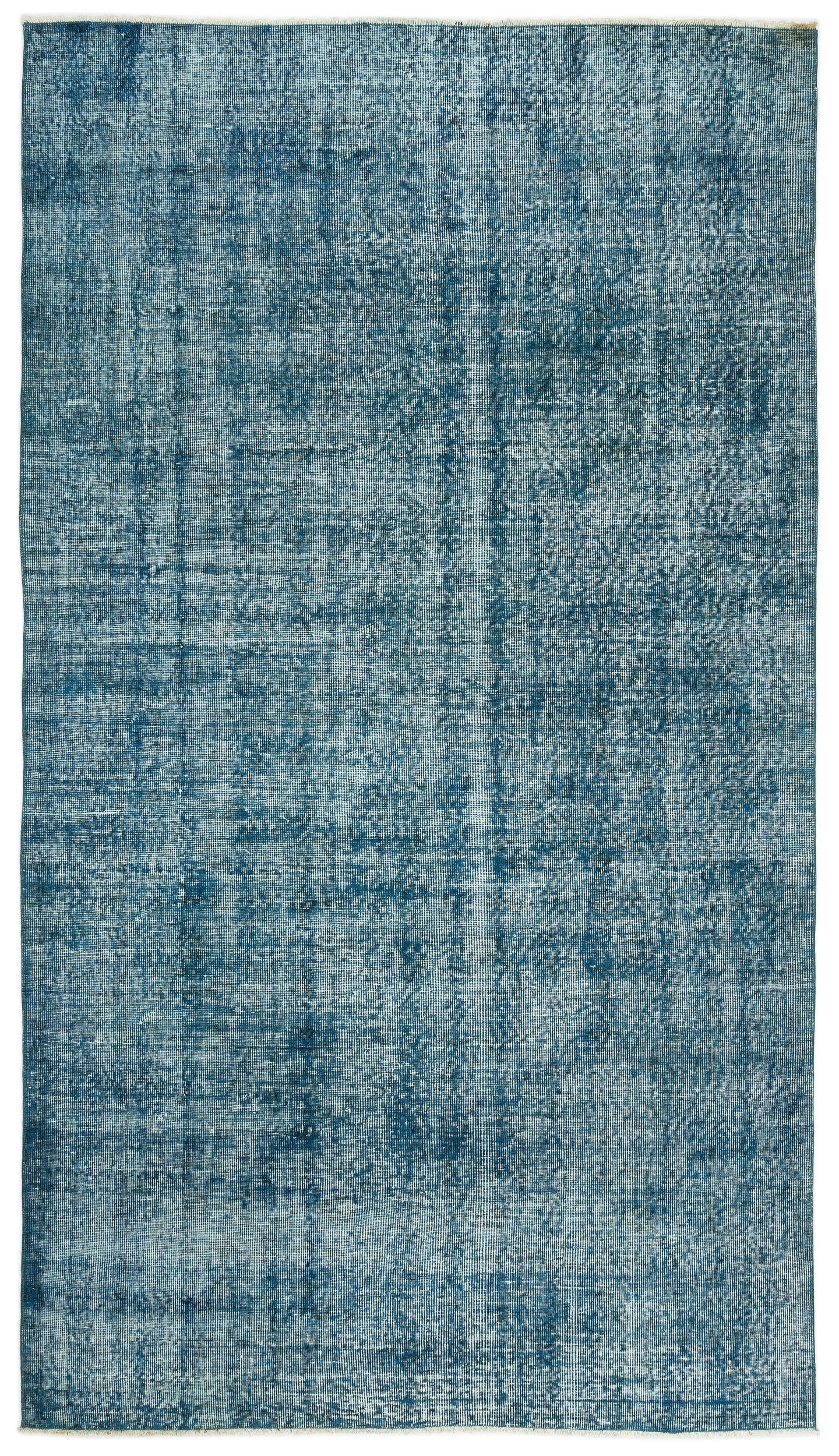 Turquoise  Over Dyed Vintage Rug 5'3'' x 9'7'' ft 160 x 291 cm