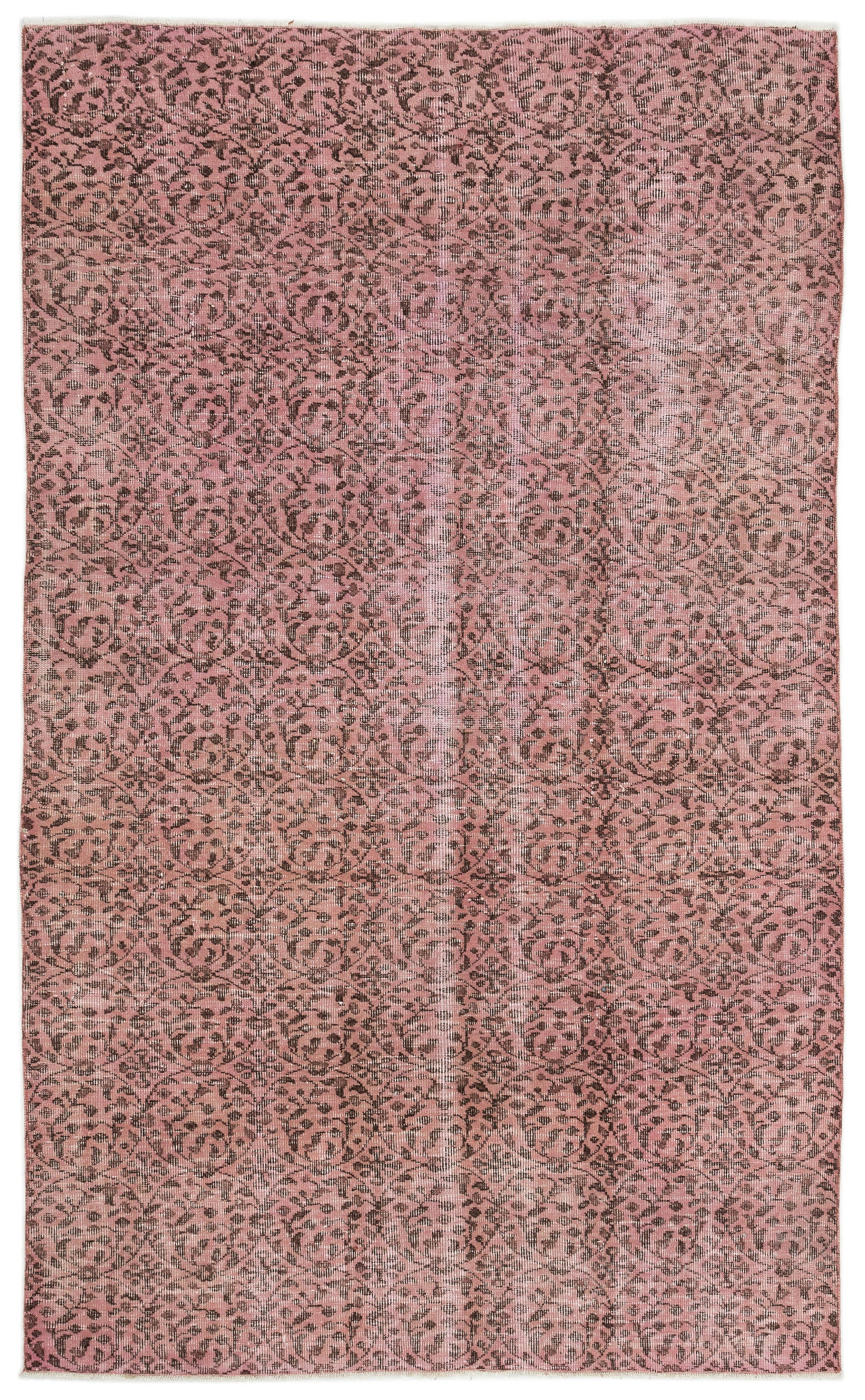 Pink Over Dyed Vintage Rug 5'2'' x 8'4'' ft 157 x 253 cm
