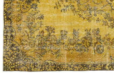 Yellow Over Dyed Vintage Rug 5'8'' x 9'10'' ft 173 x 300 cm