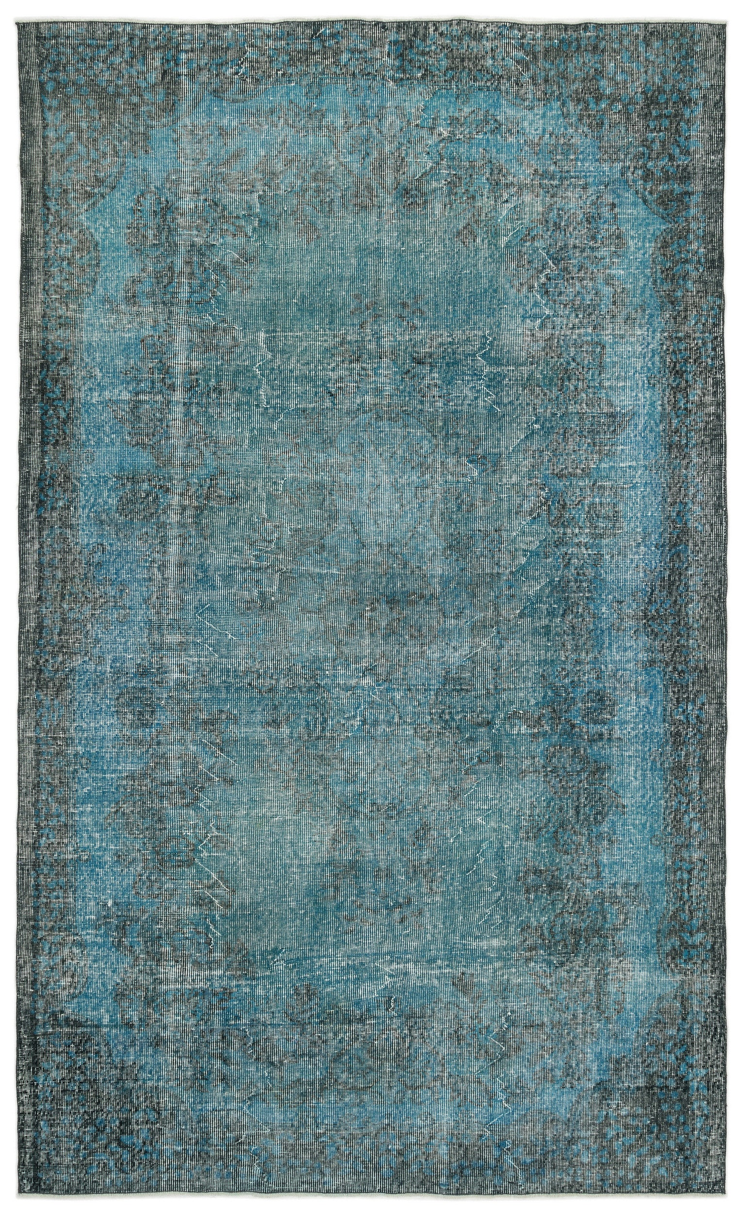 Turquoise  Over Dyed Vintage Rug 6'1'' x 10'2'' ft 185 x 309 cm