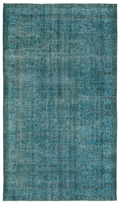 Turquoise  Over Dyed Vintage Rug 5'2'' x 9'2'' ft 158 x 279 cm