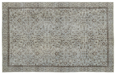 Gray Over Dyed Vintage Rug 5'7'' x 8'11'' ft 170 x 273 cm