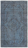 Blue Over Dyed Vintage Rug 4'9'' x 8'4'' ft 145 x 254 cm