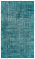 Turquoise  Over Dyed Vintage Rug 5'5'' x 9'1'' ft 164 x 276 cm