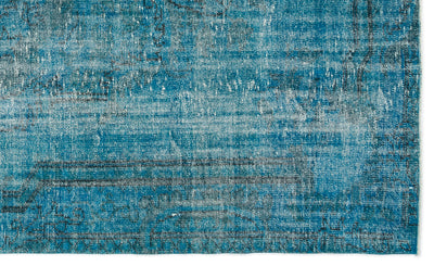 Turquoise  Over Dyed Vintage Rug 5'7'' x 9'4'' ft 170 x 285 cm