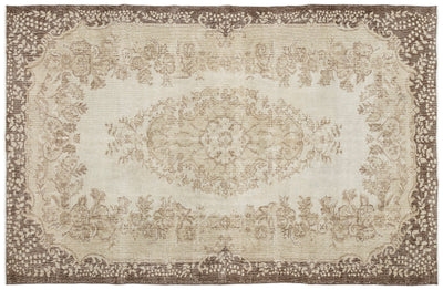 Beige Over Dyed Vintage Rug 6'2'' x 9'7'' ft 188 x 292 cm