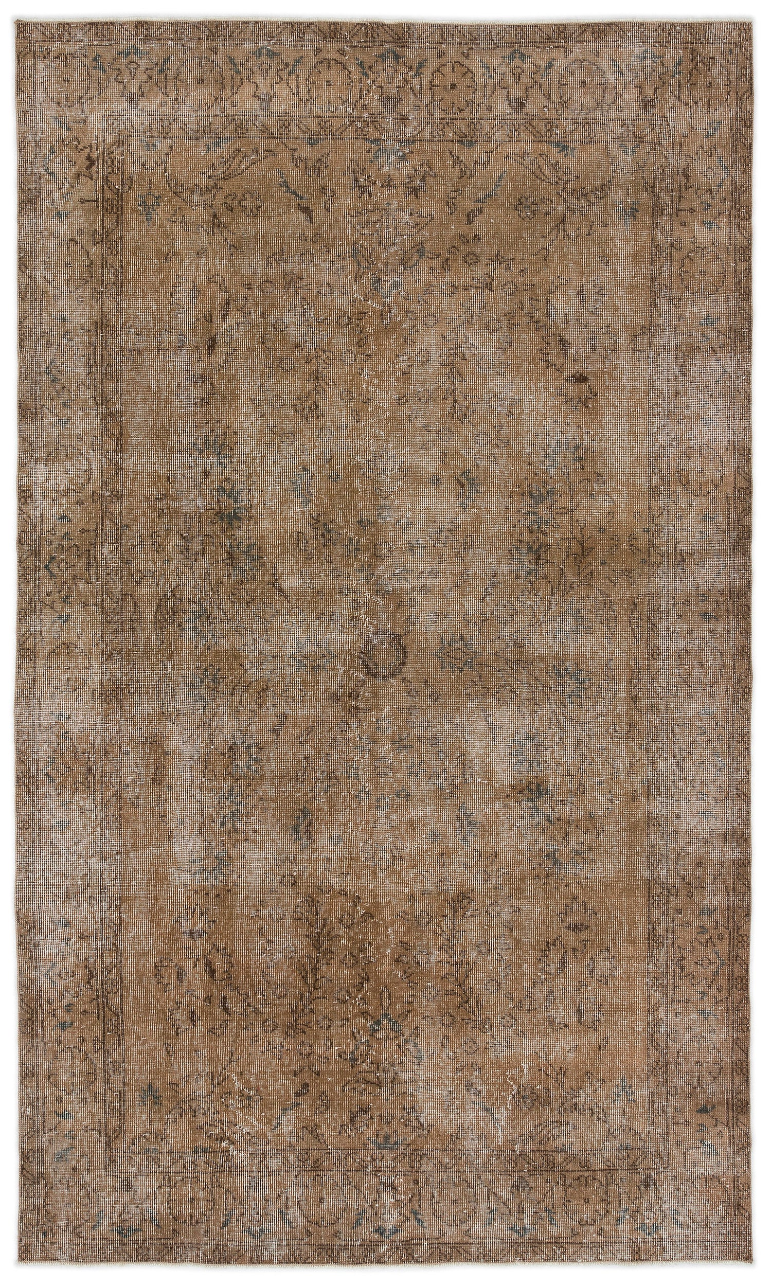 Brown Over Dyed Vintage Rug 5'2'' x 8'8'' ft 158 x 265 cm