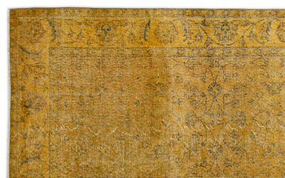 Yellow Over Dyed Vintage Rug 5'5'' x 8'8'' ft 165 x 264 cm