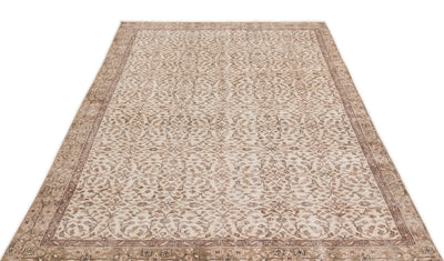 Beige Over Dyed Vintage Rug 4'12'' x 9'3'' ft 152 x 282 cm