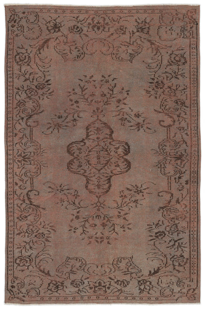 Brown Over Dyed Vintage Rug 5'2'' x 8'0'' ft 158 x 245 cm
