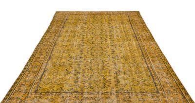 Yellow Over Dyed Vintage Rug 5'8'' x 9'2'' ft 173 x 280 cm