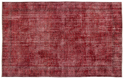 Red Over Dyed Vintage Rug 6'7'' x 10'2'' ft 200 x 311 cm