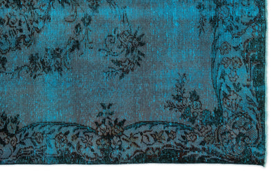 Turquoise  Over Dyed Vintage Rug 5'8'' x 9'2'' ft 173 x 279 cm