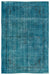 Turquoise  Over Dyed Vintage Rug 6'2'' x 9'3'' ft 189 x 283 cm