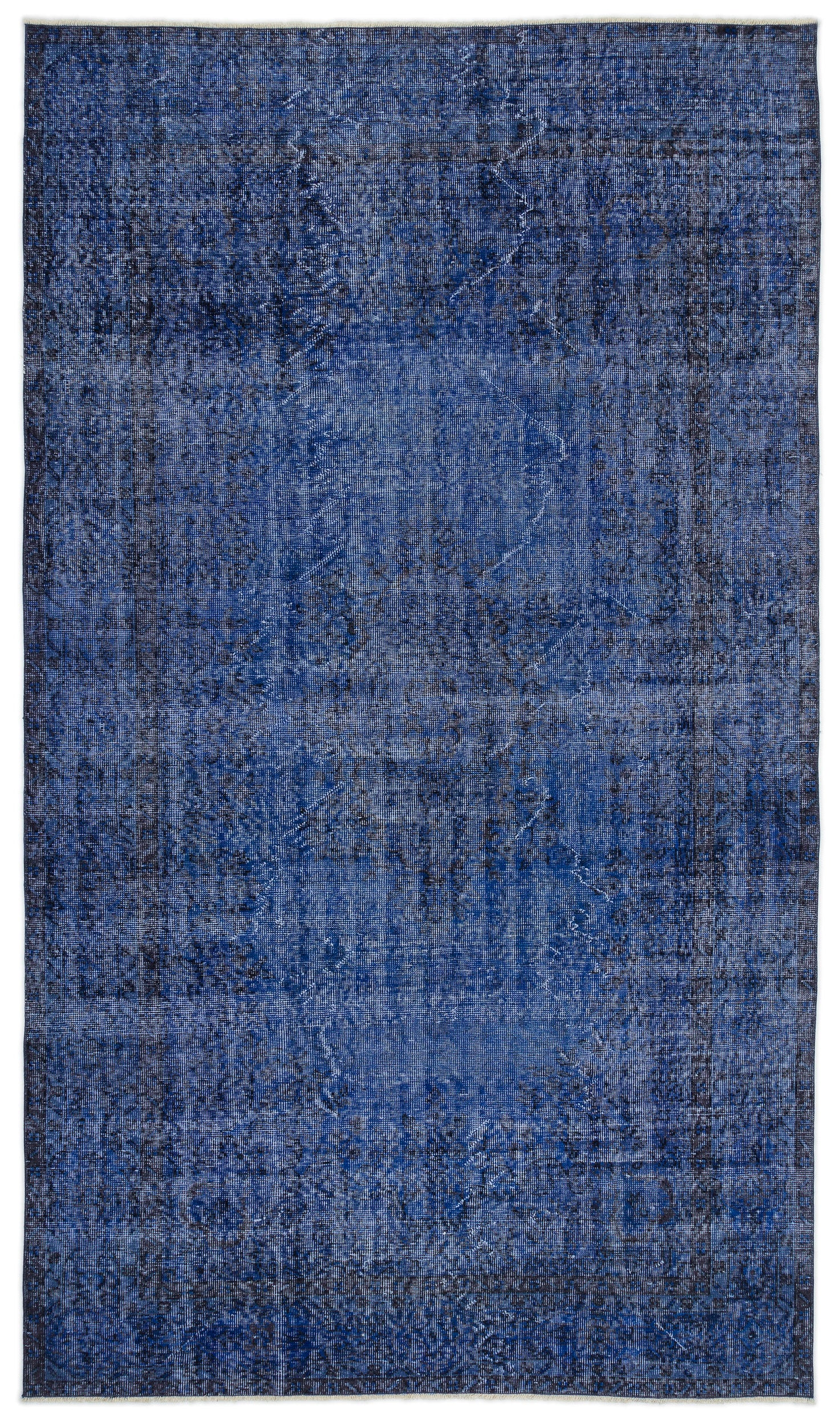 Blue Over Dyed Vintage Rug 5'6'' x 9'5'' ft 167 x 286 cm