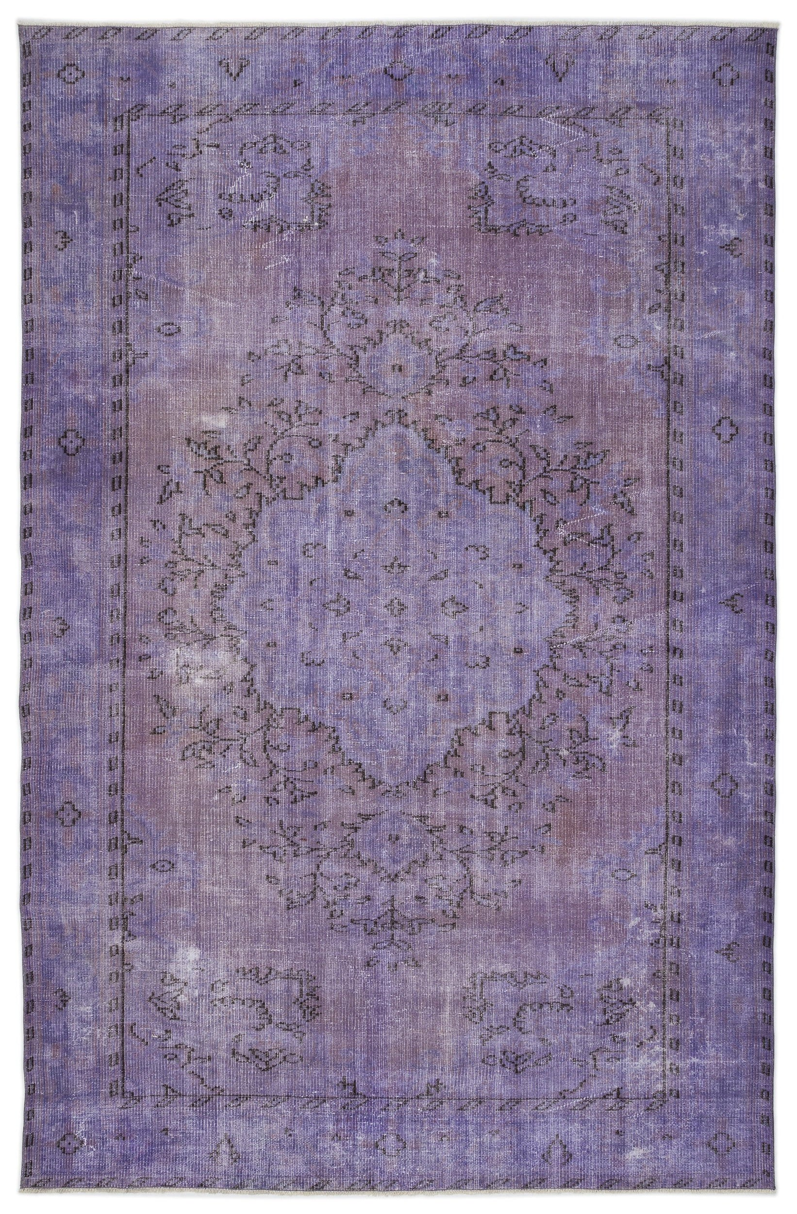 Purple Over Dyed Vintage Rug 6'4'' x 9'9'' ft 192 x 297 cm