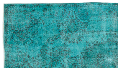 Turquoise  Over Dyed Vintage Rug 5'5'' x 9'2'' ft 165 x 280 cm