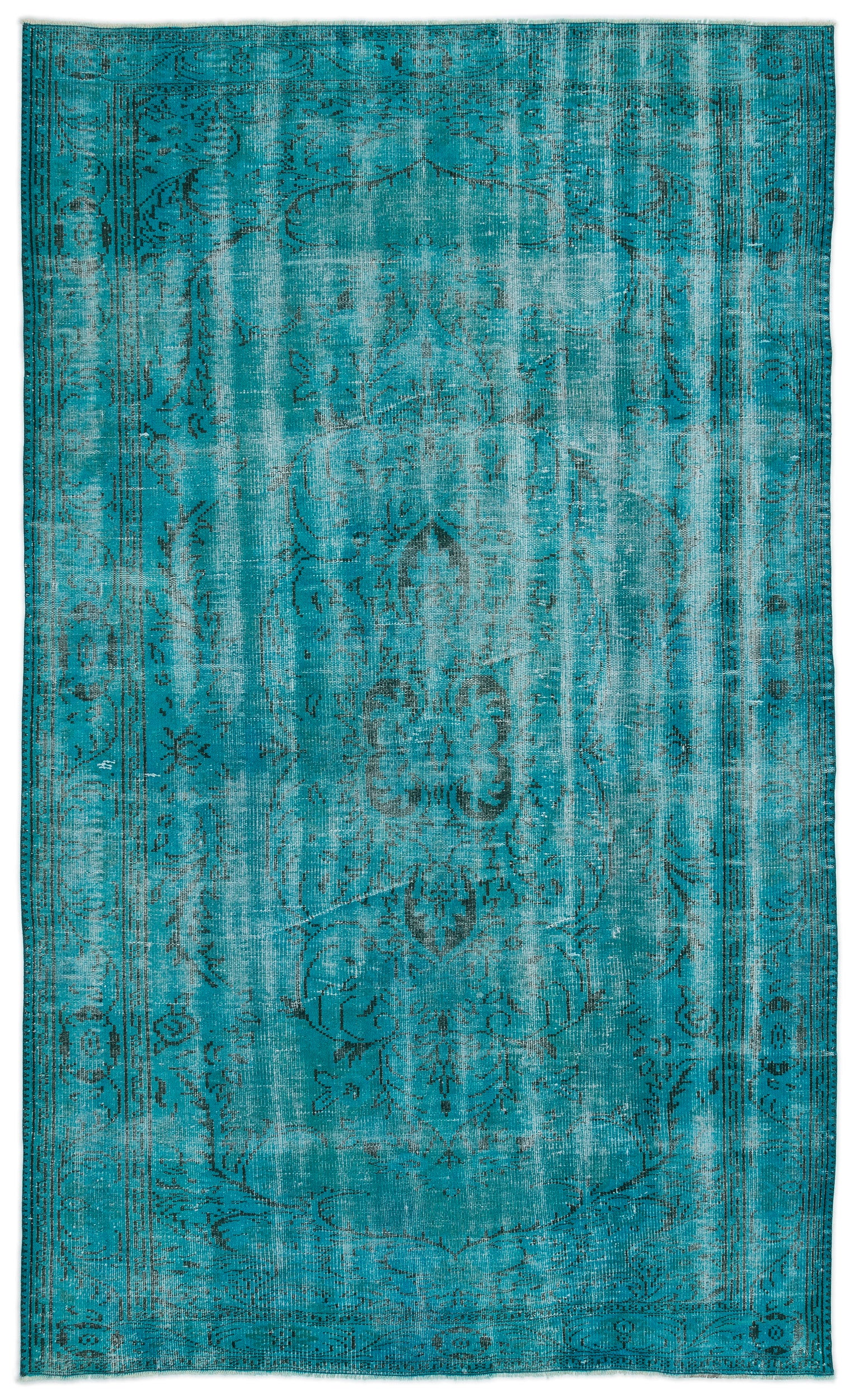 Turquoise  Over Dyed Vintage Rug 5'12'' x 10'0'' ft 182 x 305 cm
