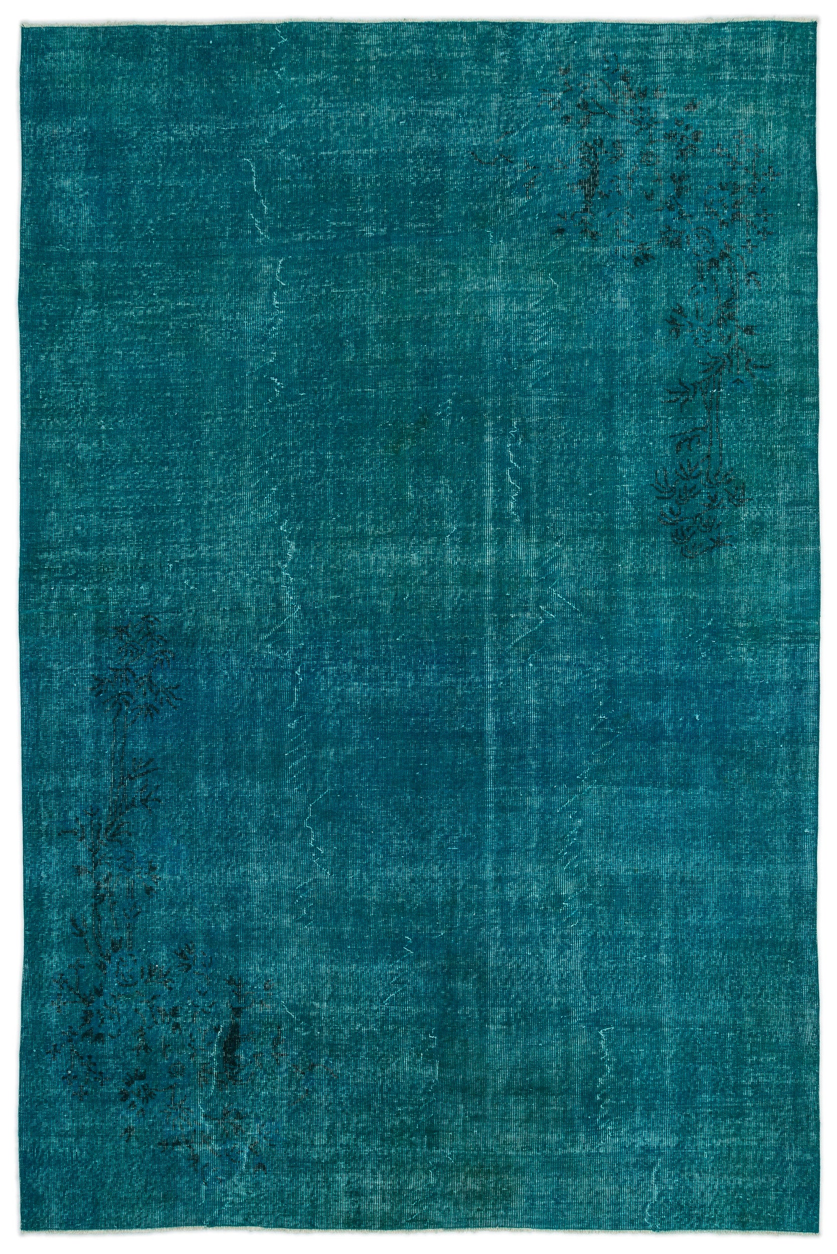 Turquoise  Over Dyed Vintage Rug 6'12'' x 10'7'' ft 213 x 323 cm