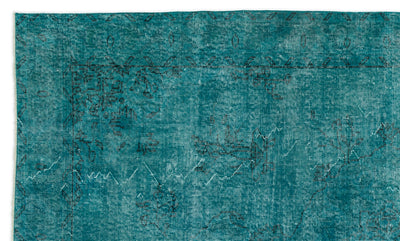 Turquoise  Over Dyed Vintage Rug 5'6'' x 9'5'' ft 168 x 286 cm