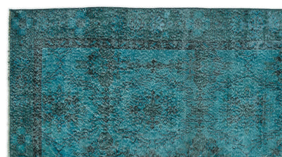 Turquoise  Over Dyed Vintage Rug 4'9'' x 8'11'' ft 144 x 271 cm