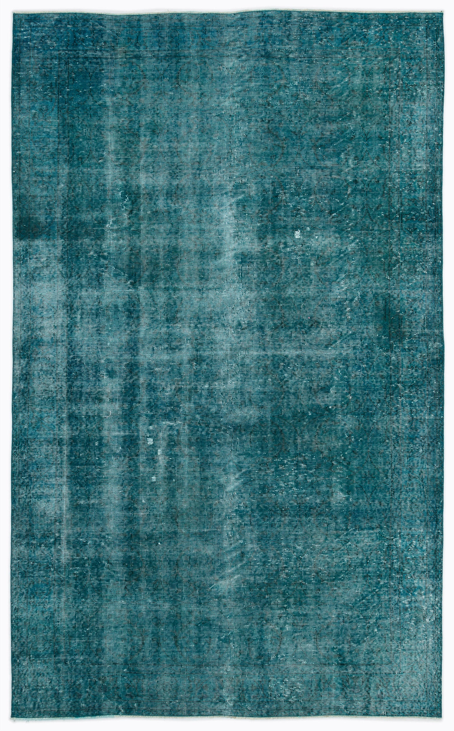 Turquoise  Over Dyed Vintage Rug 5'9'' x 9'4'' ft 175 x 284 cm