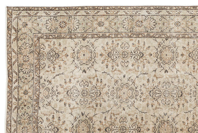 Beige Over Dyed Vintage Rug 6'2'' x 9'1'' ft 187 x 278 cm