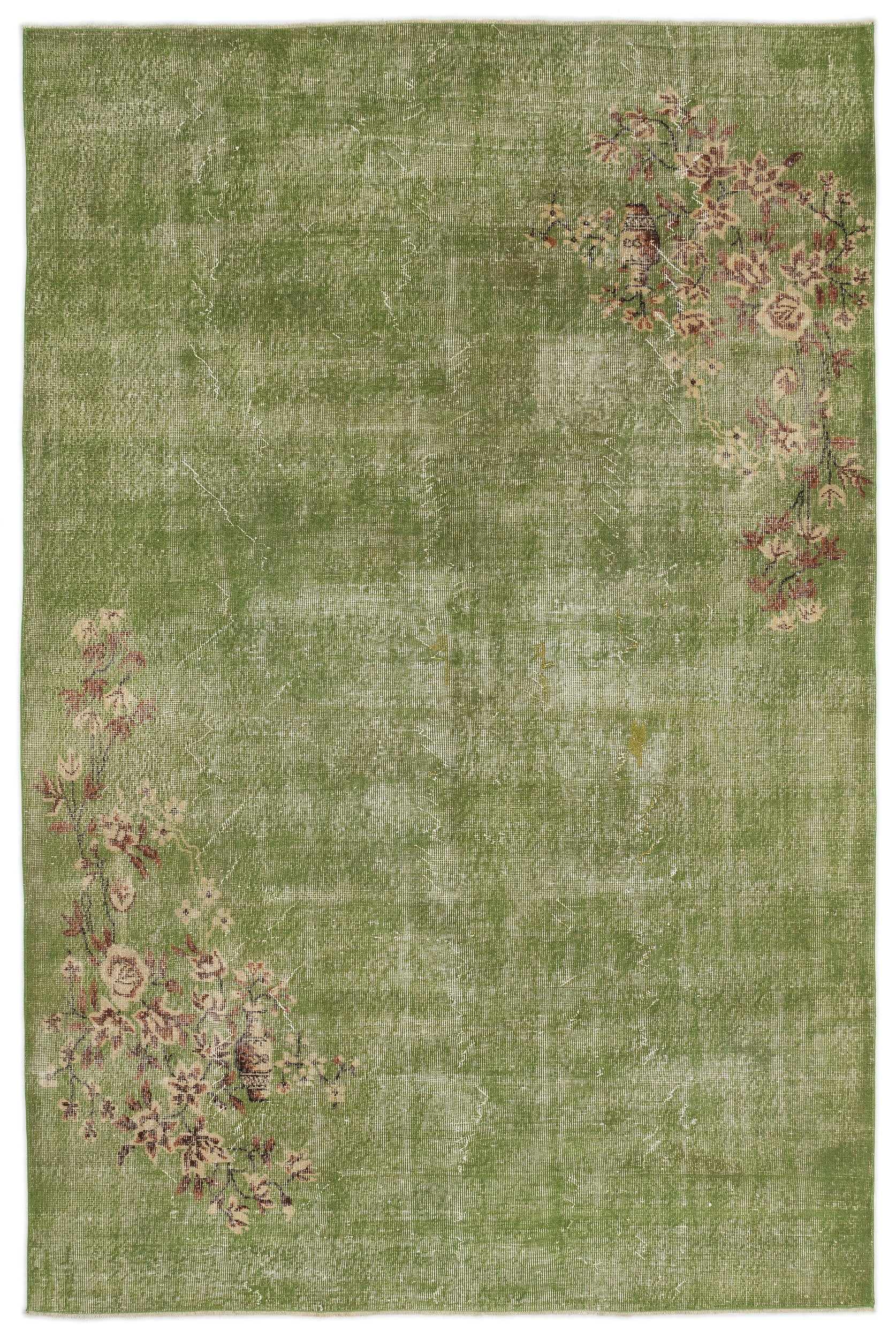 Green Over Dyed Vintage Rug 6'5'' x 9'10'' ft 196 x 300 cm
