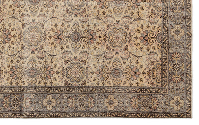Beige Over Dyed Vintage Rug 6'2'' x 9'8'' ft 188 x 295 cm