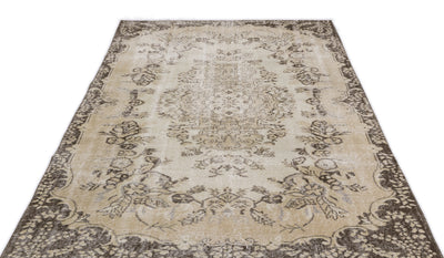 Beige Over Dyed Vintage Rug 5'5'' x 8'9'' ft 165 x 266 cm