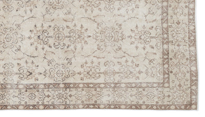 Beige Over Dyed Vintage Rug 5'5'' x 9'7'' ft 165 x 293 cm