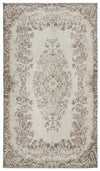 Beige Over Dyed Vintage Rug 5'4'' x 9'4'' ft 162 x 284 cm
