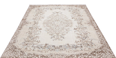 Beige Over Dyed Vintage Rug 5'11'' x 8'7'' ft 180 x 261 cm
