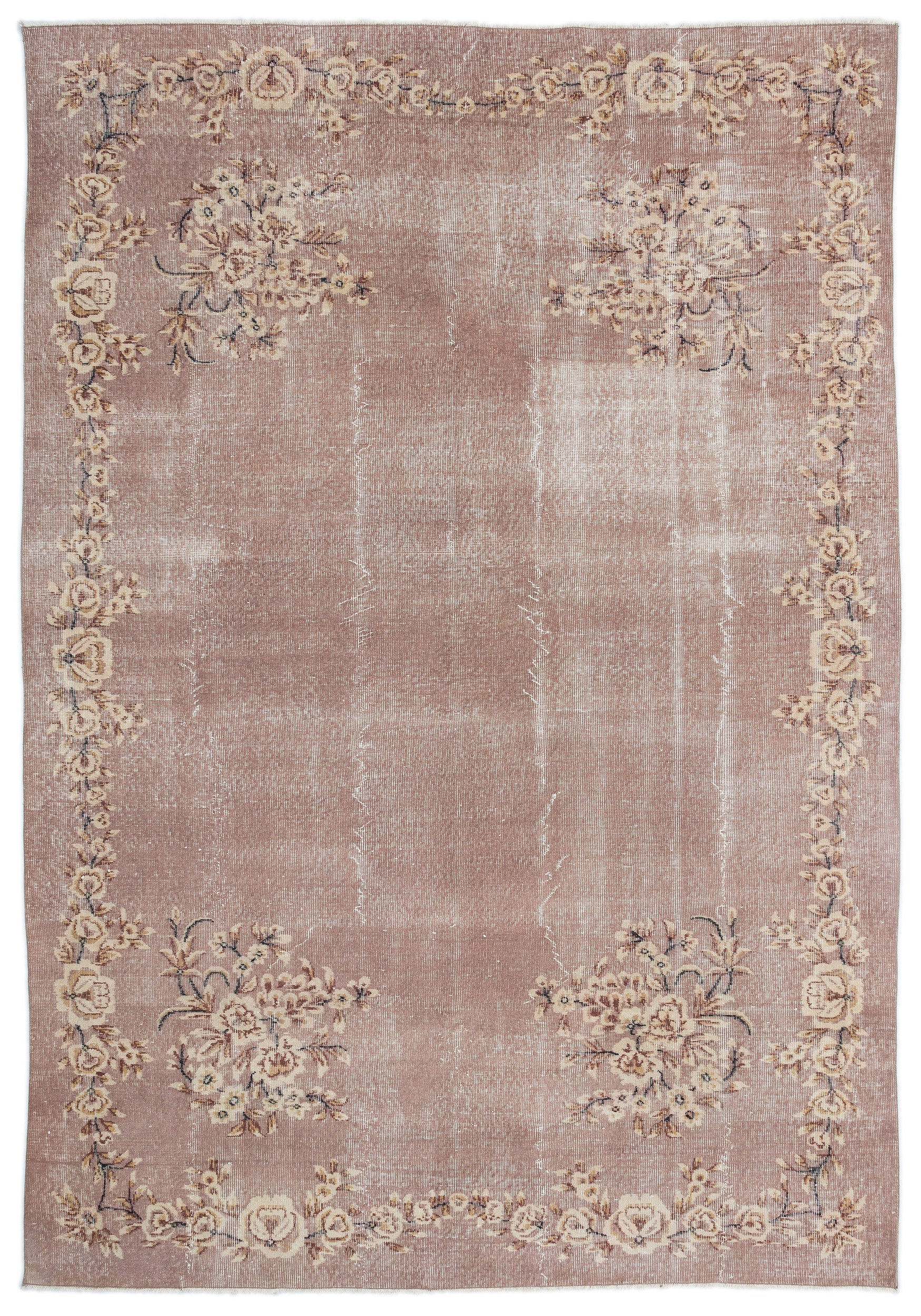 Retro Over Dyed Vintage Rug 6'12'' x 10'4'' ft 213 x 314 cm