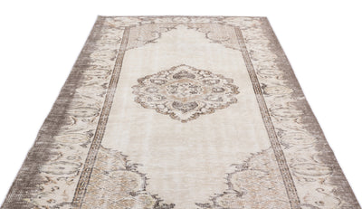 Beige Over Dyed Vintage Rug 5'8'' x 9'11'' ft 173 x 302 cm