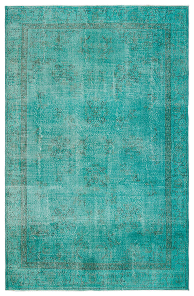 Turquoise  Over Dyed Vintage Rug 6'12'' x 10'10'' ft 213 x 330 cm