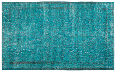 Turquoise  Over Dyed Vintage Rug 6'6'' x 10'10'' ft 199 x 330 cm