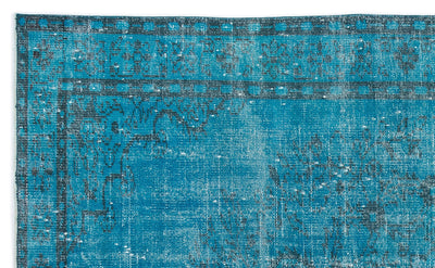 Turquoise  Over Dyed Vintage Rug 5'7'' x 9'1'' ft 169 x 276 cm