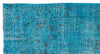 Turquoise  Over Dyed Vintage Rug 4'11'' x 8'11'' ft 149 x 273 cm