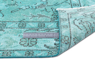 Turquoise  Over Dyed Vintage Rug 5'5'' x 9'3'' ft 165 x 283 cm